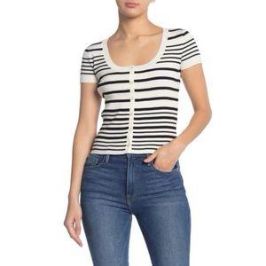 Frame Denim Stripe Print Button Up Sweater